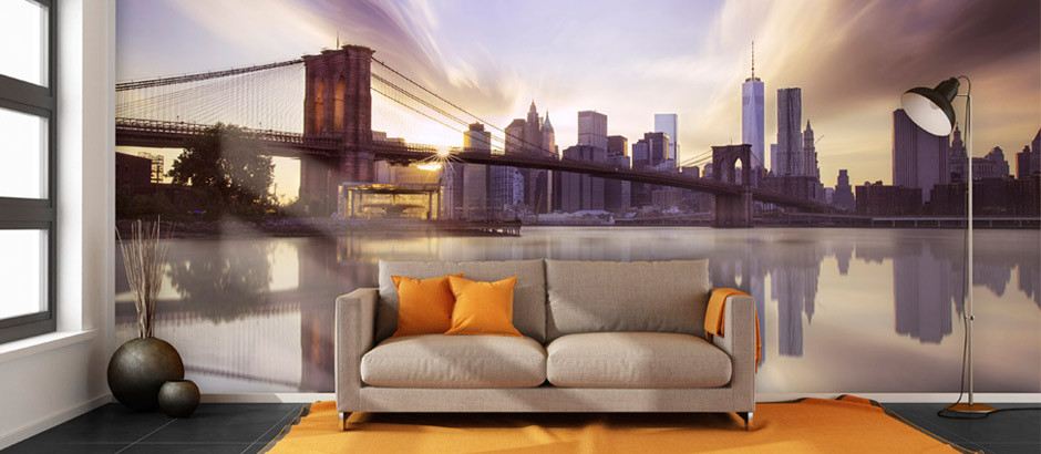 New York Wallpaper. Brooklyn Bridge Sunset Living Room Wall Mural Part 13
