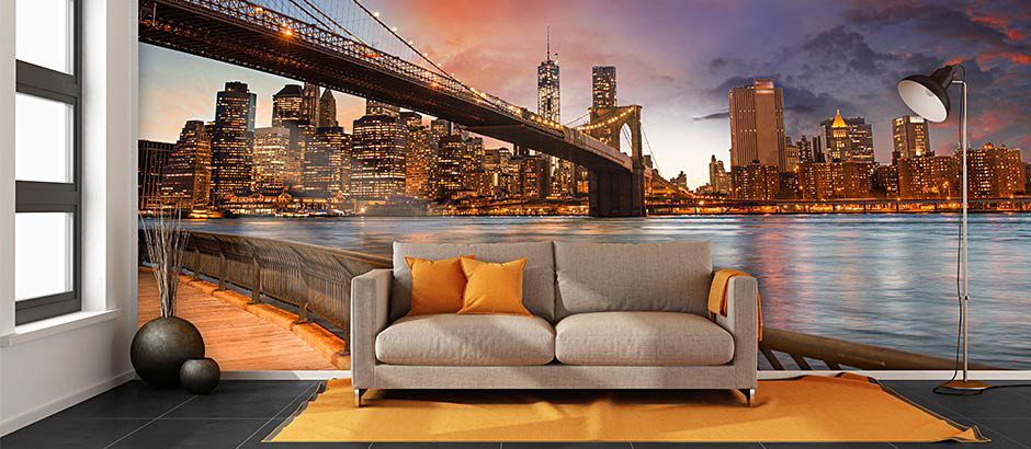 New york city skyline wallpaper new york wall murals for Brooklyn bridge mural wallpaper