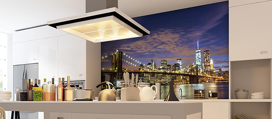 brooklyn bridge night view kitchen wall mural