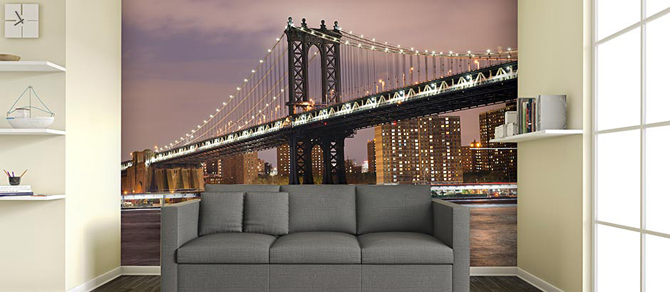 brooklyn bridge sunset living room wall mural