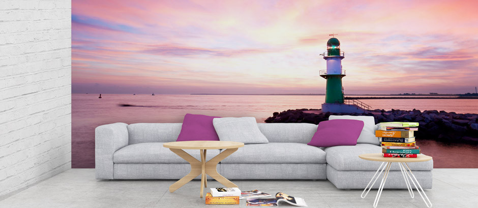 Pink sunset lighthouse wallpaper mural