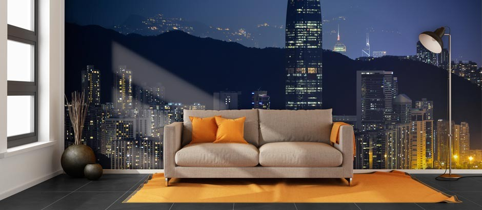 Night Time In Hong Kong Custom Wall Mural