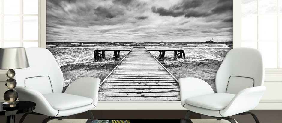 Wall mural Black and white pier