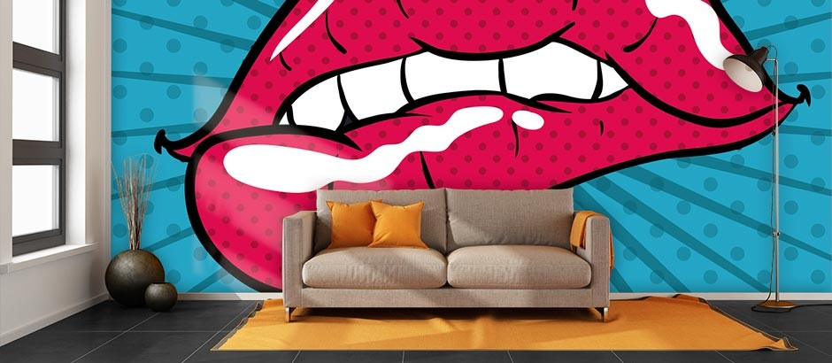 Pop Art Lips Wall Mural