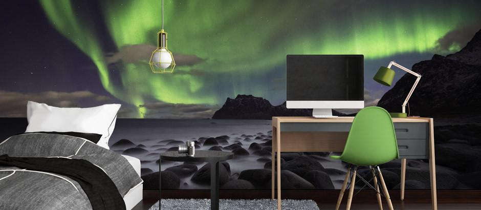 Northern lights, Aurora Borealis wallpaper mural printing UK