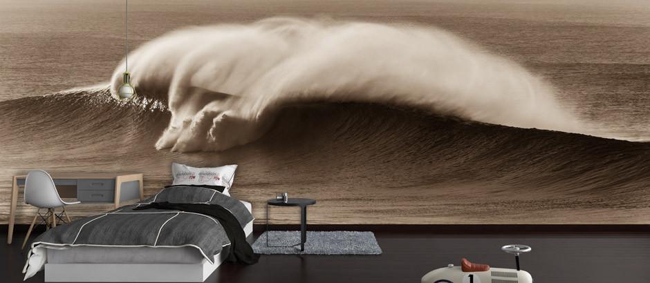 sepia Breaking wave, surfer wallpaper mural printing uk