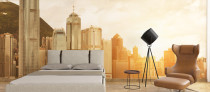 Hong Kong City View Wallpaper Mural Orange