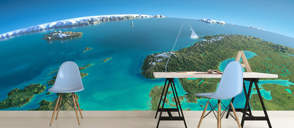 3d image of earth, printed photo wallpaper mural with free UK delivery