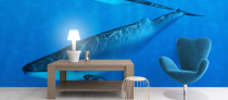 Underwater Whale, sea life printed wallpaper murals UK
