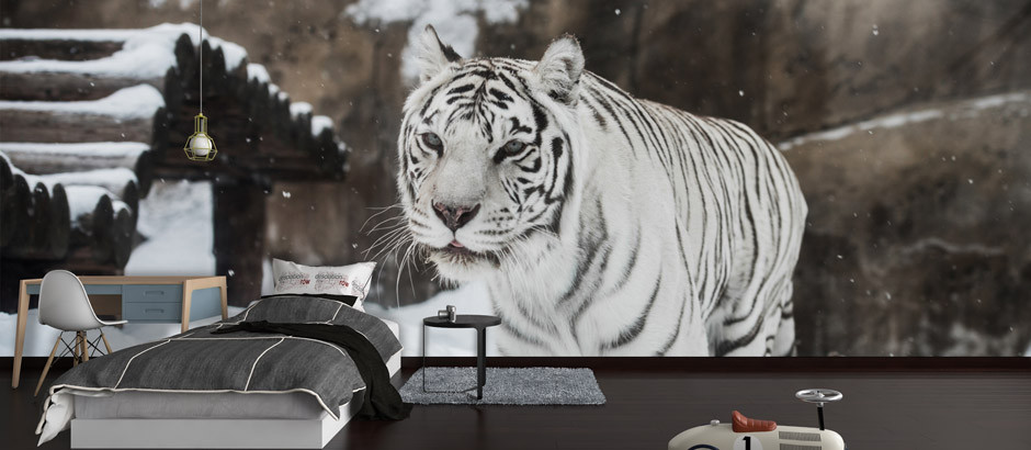 White tiger printed wallpaper mural uk