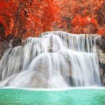 Waterfall in autumn season at Kanchanaburi, Thailand