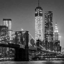 New York by night. Brooklyn Bridge, Lower Manhattan  Black an
