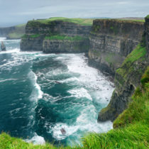 Spectacular view of famous Cliffs of Moher and wild Atlantic Oce