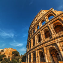 World famous Flavian Amphitheatre at sunset.