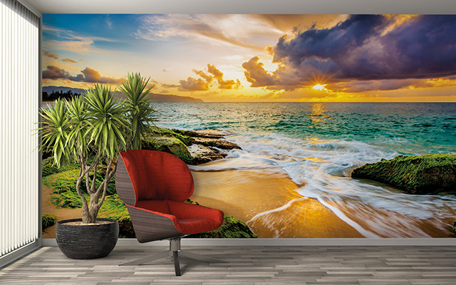 Hawaii sunset wall mural