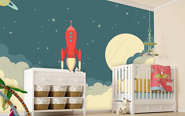 rocket_ship_kids_Space_wallpaper_mural