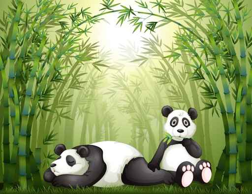 Pandas in Bamboo Kids Printed Wall Mural