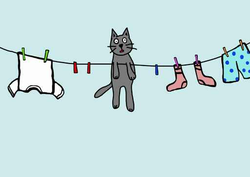 Cat Washing Line Kids Funny Wallpaper