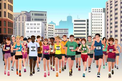 Cartoon Marathon Athlete Kids Wallpaper