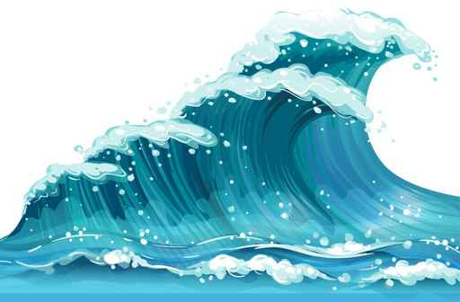 Cartoon Wave Surf kids bedroom wallpaper