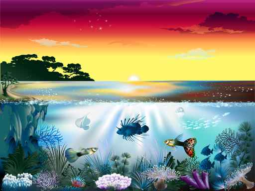 Under The Sea,Children's Ocean Wallpaper