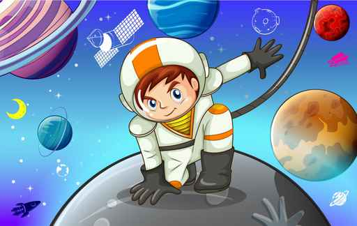 Astronaut Space Kids Wallpaper mural