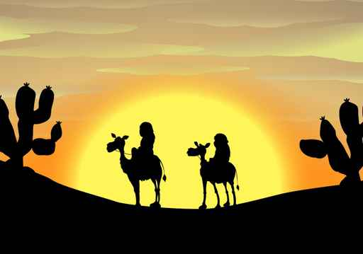 Camel Desert Scene Childs Wallpaper