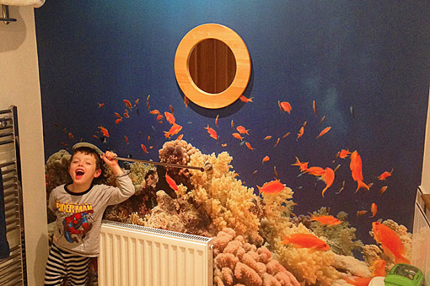 Custom underwater bathroom wall murals printed in UK