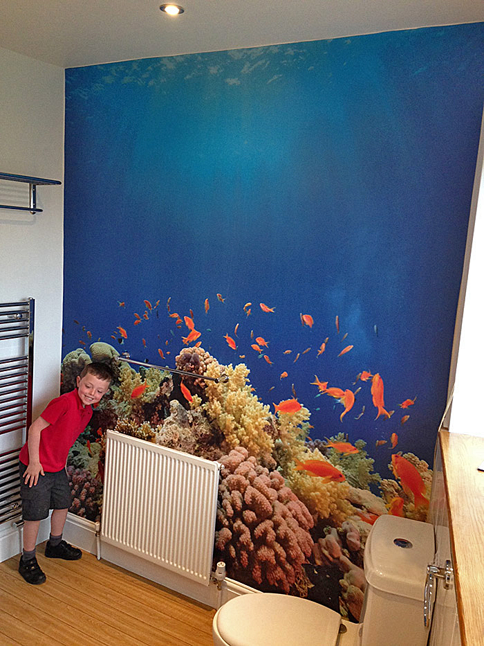 Underwater scene fish & coral reef wallpaper mural