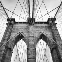 Brooklyn Bridge New York City close up architectural detail in t