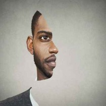 Optical illusion portrait front with cut out profile of man