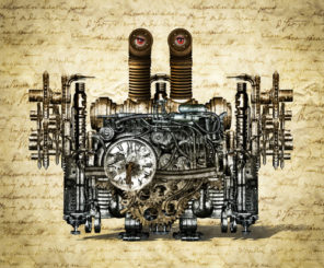 steampunk engine wallpaper mural