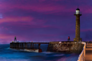 Whitby peir and sky Wallpaper mural