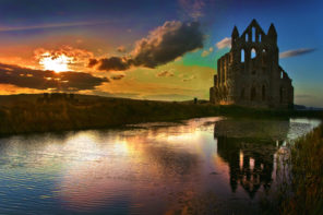 whitby abbey sunset Wallpaper mural