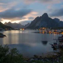 Magnificent panoramic sunset view at the port of Reine, Lofoten